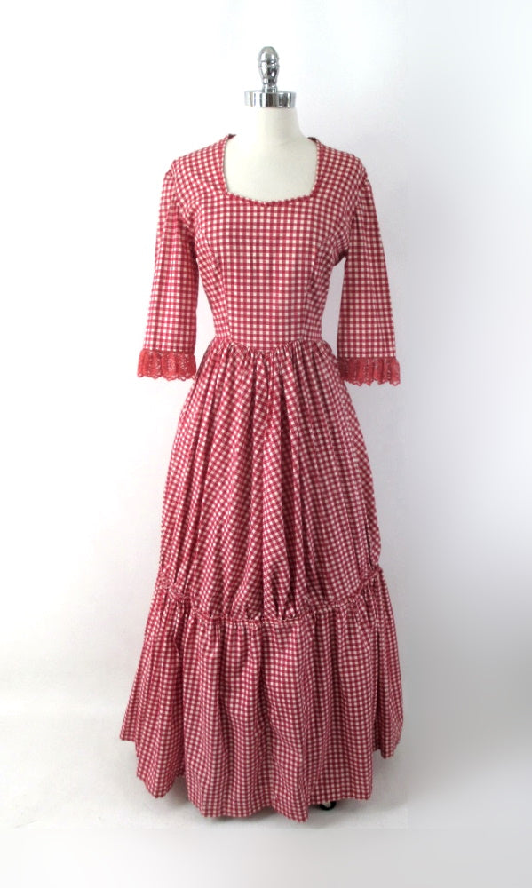 Vintage 60's Gingham Pioneer Prairie Costume Dress L