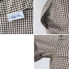 vintage 50s gingham suit set matching belt brown white fall color dress 10
