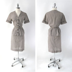 vintage 50s gingham suit set matching belt brown white fall color dress full