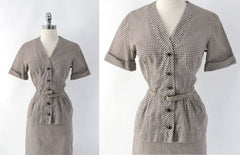 vintage 50s gingham suit set matching belt brown white fall color dress bodice