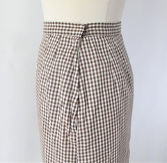 vintage 50s gingham suit set matching belt brown white fall color dress 6