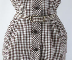 vintage 50s gingham suit set matching belt brown white fall color dress 4