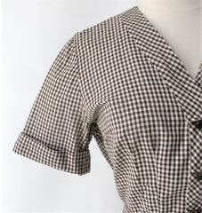 vintage 50s gingham suit set matching belt brown white fall color dress sleeve