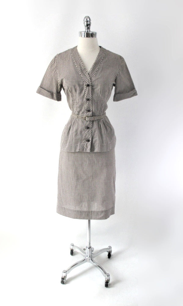 vintage 50s gingham suit set matching belt brown white fall color dress gallery