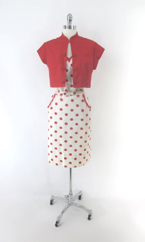 Vintage 50s White Red Polka Dot Dress & Matching Red Bolero 1X / XL