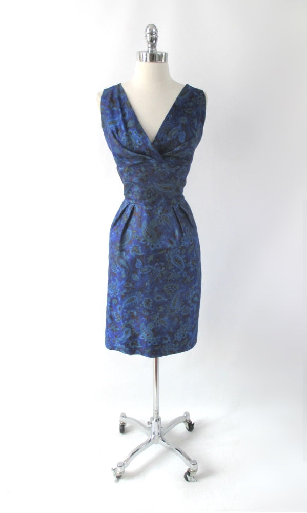 Vintage 50s Blue Paisley Sheath Dress L