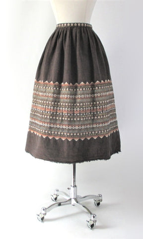 Vintage 50s South American Brown Woven Birds Full Skirt M