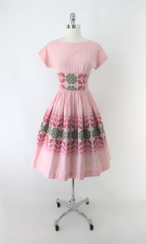 Vintage 50s Jean Leslie Pink Gingham Stitched Flower Day Party Dress S