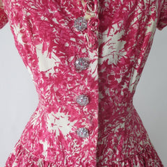 Vintage 50s Abstract Pink White Full Skirt Day Dress M