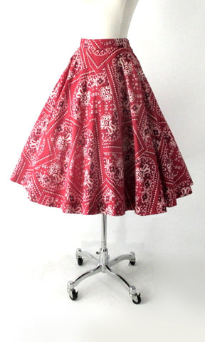 Vintage 50s Red Bandana Full Circle Skirt S