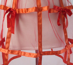 Vintage 50s Red Satin Ribbon Holiday Party Hostess Apron • One Size
