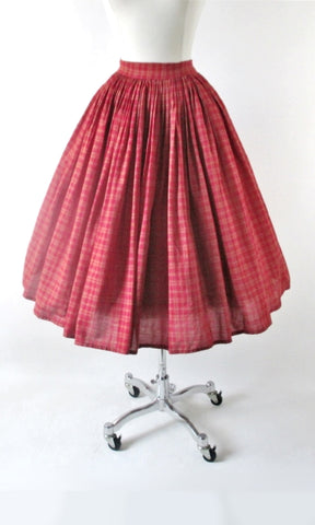 Vintage 50s 60s Red & Gold Plaid Full Skirt S