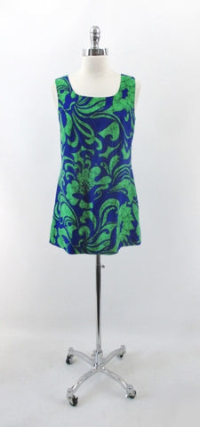Vintage 60s Hawaiian Tie Back Top Micro Mini Dress M