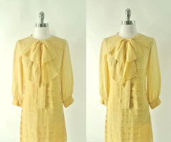 Vintage 60's Yellow Sheer Pussy Bow Shift Dress S - Bombshell Bettys Vintage