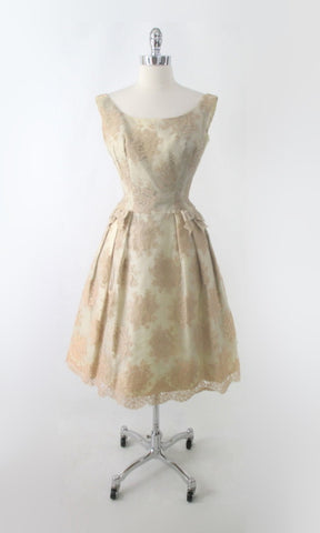 Vintage 50s 60s Champagne & Lace Party Dress S