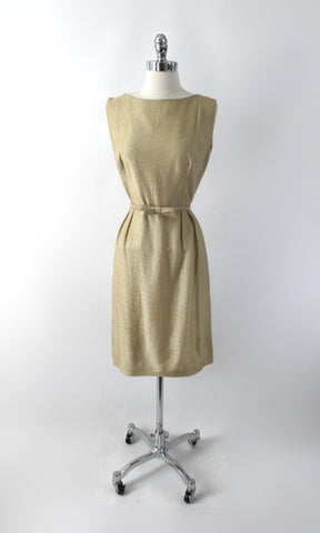 Vintage 60s 50s Gold Lame & Bow Belt Party Dress L