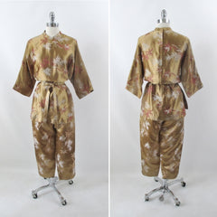 Vintage 60s Alfred Shaheen Hawaiian Gold Brocade Tunic Top Capri Pants Set M - Bombshell Bettys Vintage