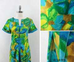 Vintage 60s Watercolor Floral Hawaiian Trapeze Shift Dress L
