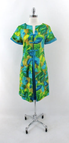 Vintage 60s Watercolor Floral Hawaiian Trapeze Dress L