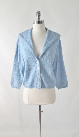 Vintage 60s Light Blue Nautical Cardigan Sweater L