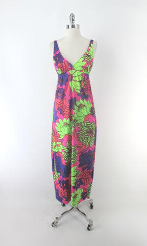 Vintage 60s Catalina Psychedelic Flower Power Maxi Dress XS