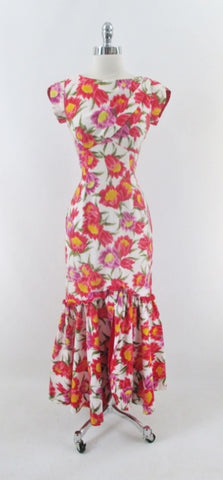 Vintage 60s Hawaiian Style Mermaid Hem Floral Sheath Dress S