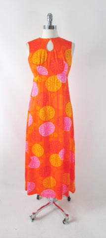 Vintage 60s Psychedelic Watteau Pleat Hawaiian Maxi Dress S
