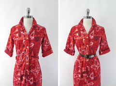 Vintage 60s Hawaiian Style Red Shirt Shift Dress S