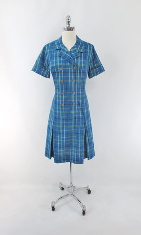 Vintage 60s Blue Tartan Plaid Button Front Princess Dress M