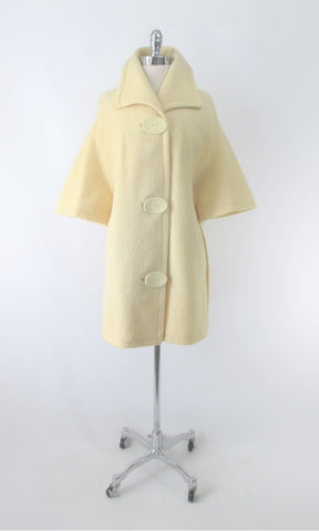 Vintage 60's Cream Big Button Bell Sleeve Mod Coat / Jacket M
