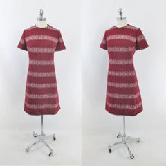 Vintage 60s Deep Red MOD Princess A-Line Midi Dress L