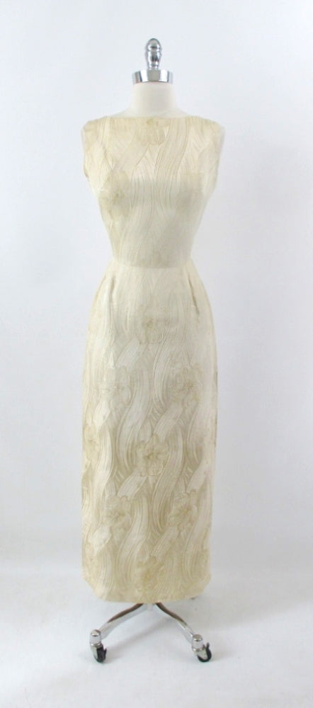 Vintage 60s Royal Lynne Gold Silk Evening Gown Sheath Dress S - Bombshell Bettys Vintage