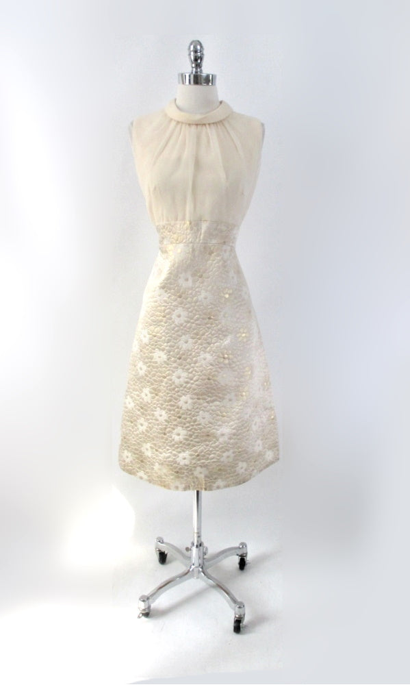 Vintage 60s Quilted Gold Brocade & Chiffon Dress Matching Jacket Party Set L