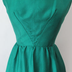 Vintage 60s Green Silk Party Dress S