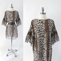 Vintage 60s MOD Leopard Tunic Lounge Dress Cover Up • One Size