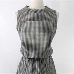 Vintage 60s Houndstooth A Line Jumper Dress M