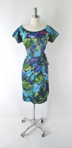 Vintage 60s Watercolor Hawaiian Sarong Dress L