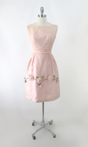 Vintage 60s 3D Pink Roses Full Skirt Party Dress S