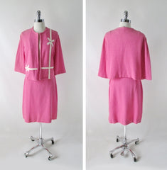 Vintage 60s White Bow Pink Suit Set XL - Bombshell Bettys Vintage