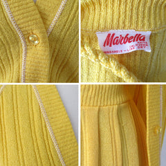 Vintage 70s Yellow Knit Sweater Top Skirt Matching Belt Set S