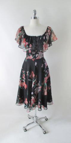 Vintage 70s Black Sheer Floral Ruffled Party Dress M
