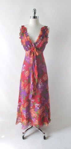 Vintage 70s Rose Garden Chiffon Maxi Party Dress XS