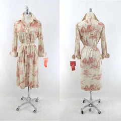 Vintage 70s Landscape Novelty Print Shirt Dress • New Vintage • L