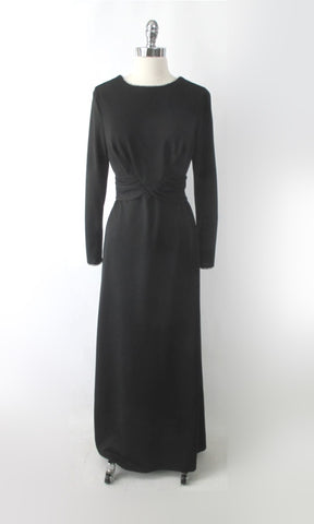 Vintage 70s Black Rhinestone Trim Evening Dress Maxi Gown L