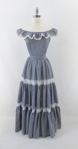 Vintage 70's Blue Gingham Ruffled Bare Shoulder Prairie Dress / Gown M