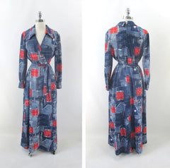 Vintage 70s Faux Denim & Bandanna Patchwork Print Maxi Dress L