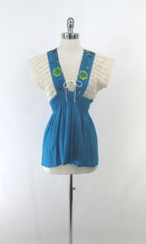 Vintage Crochet & Embroidered Peasant Top Blouse S