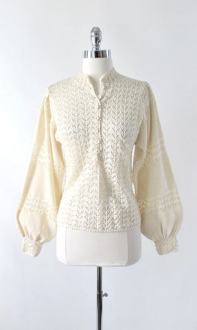 Vintage 70s Cream Chevron Knit Sweater Top S