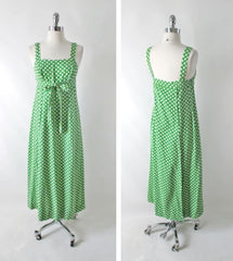 Vintage 70s Green White Polka Dot Wrap Maxi Dress XS - Bombshell Bettys Vintage