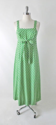 Vintage 70s Green White Polka Dot Wrap Maxi Dress XS